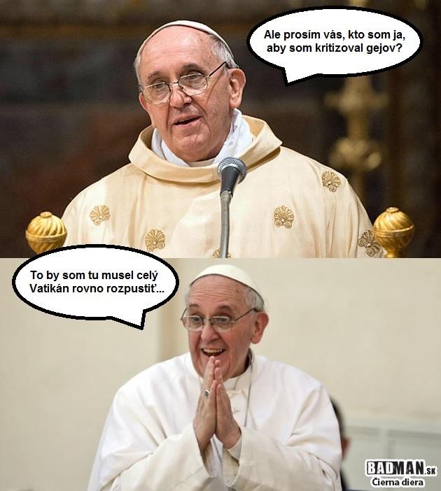 Pápež s homosexuálmi problém nemá, vec vidí reálne